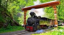Trenul Mocănița a lovit două mașini la Roșia Montană