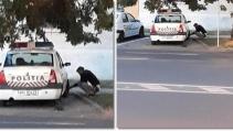 Fotografiat în timp ce dezumfla roțile mașinilor de poliție